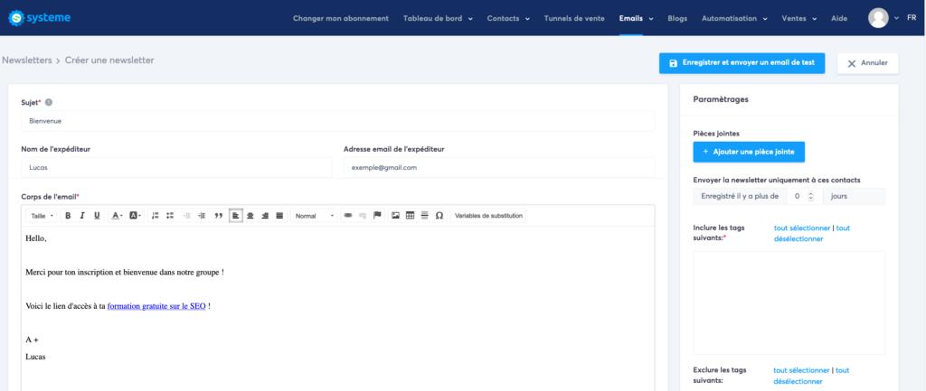 envoyer un email avec systeme.io